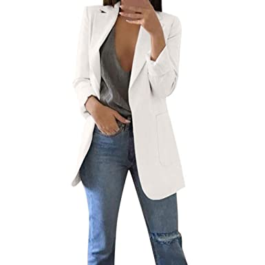 in vendita d619d 4ba13 VICGREY Blazer Donna Elegante Lungo Ufficio Classico Giacche ...