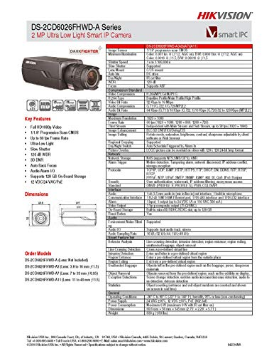 Hikvision DS-2CD6026FHWD-A3 Super Low Light Box Camera, 2MP/1080P, H.264, 3.8-16 mm Lens, Wide Dynamic Range, POE/12VDC
