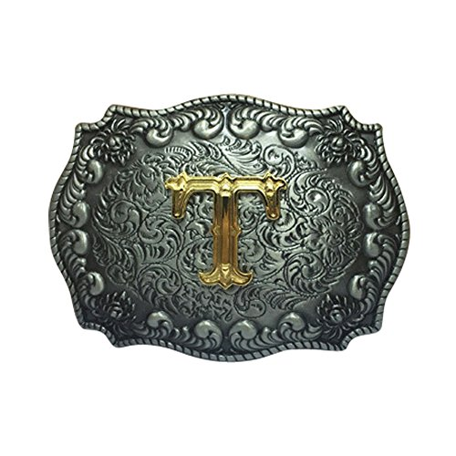 Belt Buckle Letter - E-Clover Fashion Golden Letter Engraved Cowgirl/Cowboy Western Belt Buckle (T)