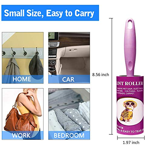 Lint Rollers for Pet Hair Extra Sticky Lint Roller Refill for Clothes Dog Hair Roller Remover Couch Furniture [120 Sheets 6 Refills] Laundry Household Supplies(Purple)