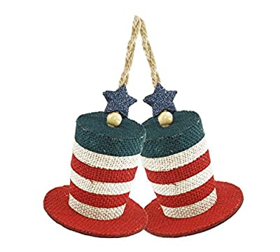 Caffco Patriotic Top Hat Burlap Hanging Christmas Ornament - Set of 2