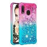 Cfrau Glitter Case with Black Stylus,Luxury Creative Quicksand Liquid Flowing Diamond Soft TPU Shockproof Cover for Samsung Galaxy A20E/A10E,Pink Blue
