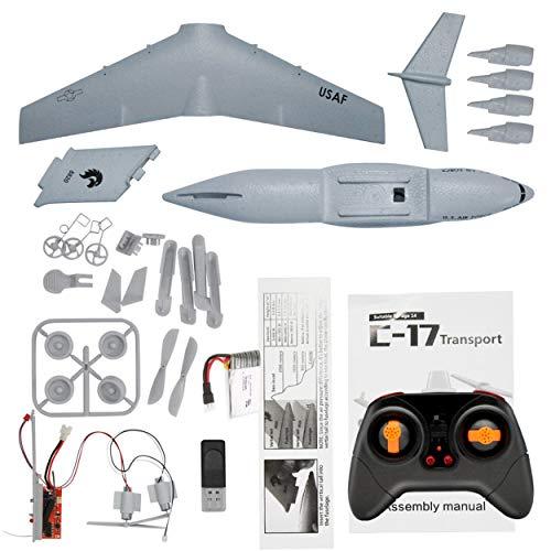 Aviones de transporte 373 mm Envergadura EPP RC Drone Avión 2.4GHz 2CH 3-Axis DIY aviones para niños de juguete