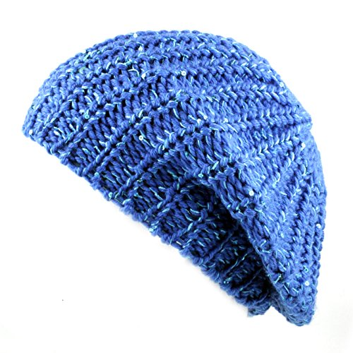 (THE HAT DEPOT 700HAT51 Sequin Knit Beret One Size Tam (Turquoise))