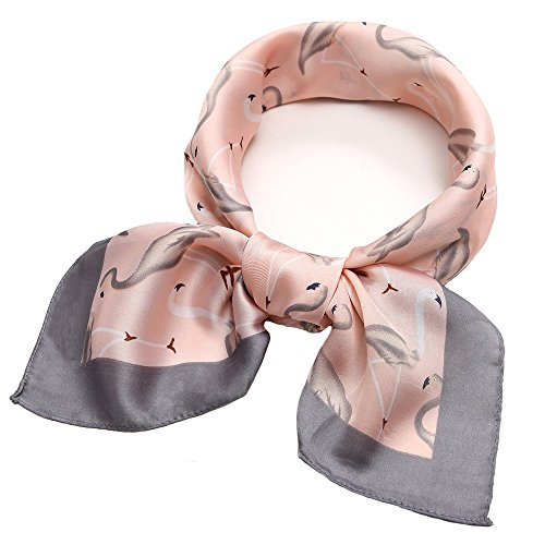 Silk Like Scarf Square Satin Hair Scarf Fashion Crane Neck Scarfs for Women Orange 27'' x 27'' -