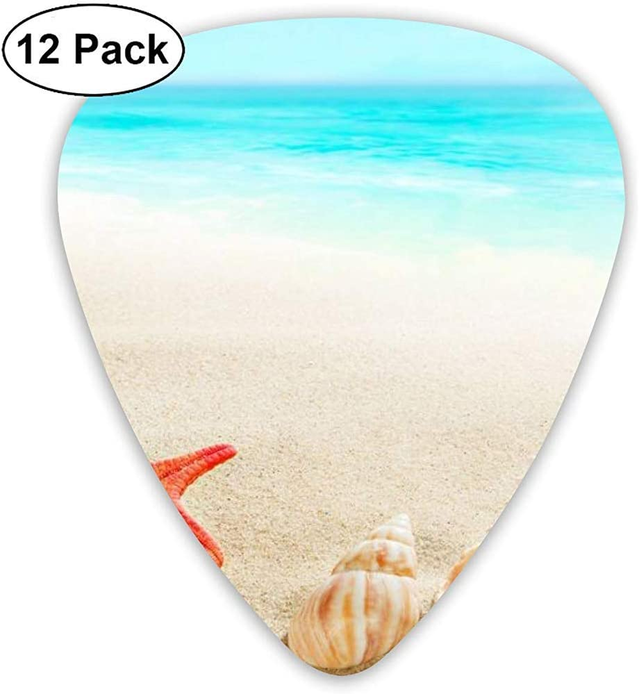 Seashells Starfish Beach Sand Púas de guitarra Set 12 púas de ukelele, que incluyen 0.46 mm, 0.71 mm, 0.96 mm Guitar Pick and Pick Box