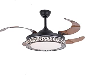 42 Inch Ceiling Fans lights 4 Retractable Blades LED Ceiling Fan Three Color Change Chandelier with Remote Control (Black)