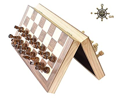 "Magnetic Wooden Chess Set HOUMING 12""x12"" inch Foldable Board Chess Standard Travel International Board Game with Crafted Chessmen"
