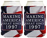 Republican Gifts for 21st Birthday Making America Great Since 1997 21st Birthday Gag Gifts for Republican Party 2 Pack Can Coolie Drink Coolers Coolies USA Flag