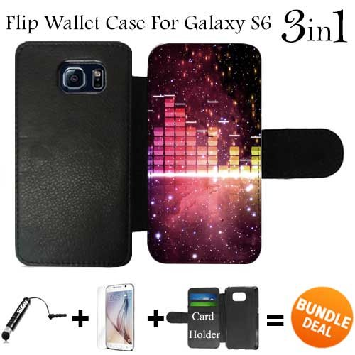 Nebula Music Visualizer Custom Galaxy S6 Cases Flip Wallet Case,Bundle 3in1 Comes with HD Tempered Glass/Universal Stylus Pen by - Glasses Visualizer