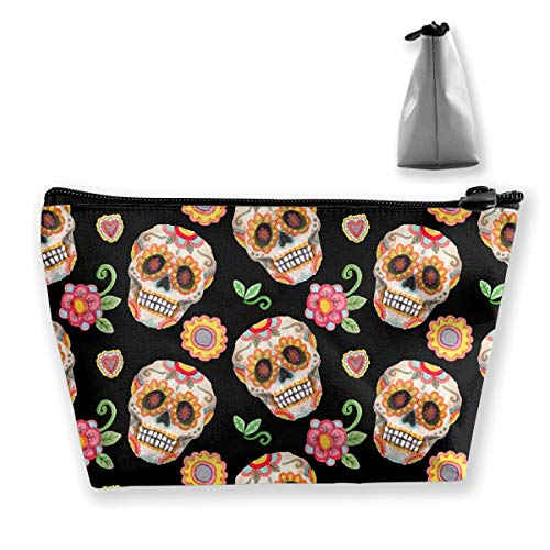 Camp Ursula Mexico Sugar Skull Flowers Small Travel Makeup Pouch Toiletries Storage Organizer Bags ()