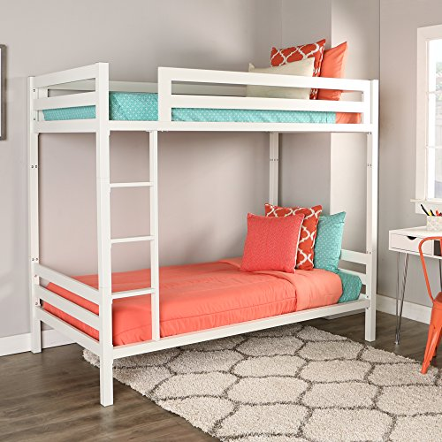 WE Furniture Premium Twin Metal Bunk Bed, White (Coated Bunk Bed White Powder)