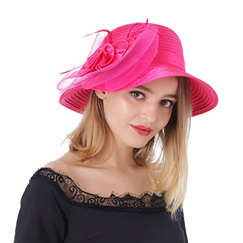 Dantiya Women's Organza Wide Brim Floral Ribbon Kentucky Derby Church Dress Sun Hat (Free, 2 Style-Rose) ()