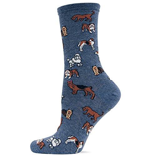 Hot Sox Women's Originals Classics Crew Socks, Classic Dogs (Denim Heather), Shoe Size 4-10/Sock Size 9-11 (Hot Dog Sox)