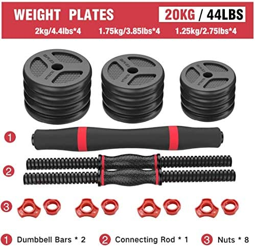 Mikolo Adjustable Dumbbells Barbell 2 in 1 with Connector, Adjustable Dumbbell Barbell Sets 44lbs, Lifting Dumbells for Body Workout,Home, Gym, Office