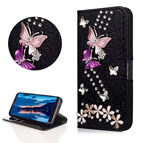 Crystal Diamond Glitter Leather Wallet Case for Samsung Galaxy S8 Plus,DasKAn Butterfly Flower 3D Rhinestone Bling Folio Flip Cover with Card Holder Magnetic Closure Stand Protective Phone Case,Black
