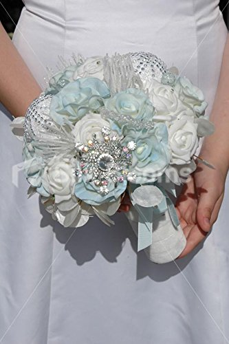 Icy Blue And White Rose Icicle Christmas Winter Wedding Bouquet