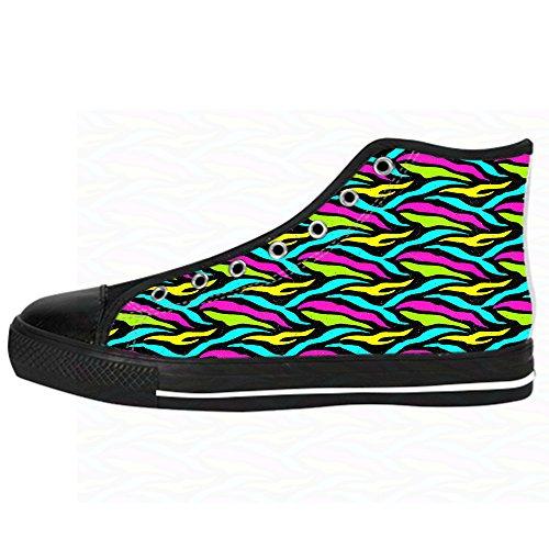 Custom zebra di stampa Womens Canvas shoes I lacci delle scarpe scarpe scarpe da ginnastica Alto tetto