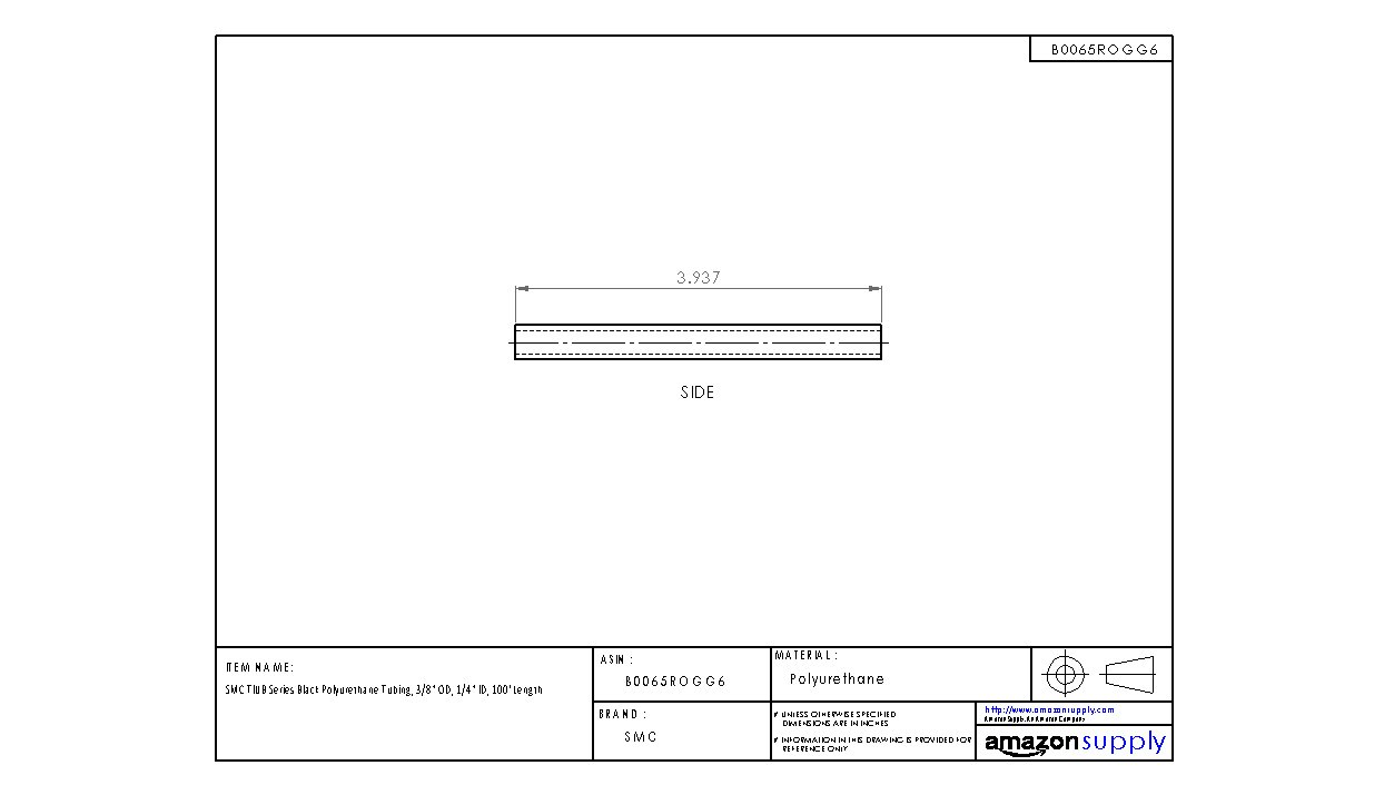 5//32 ID 100 Length SMC TIUB Series Black Polyurethane Tubing 1//4 OD