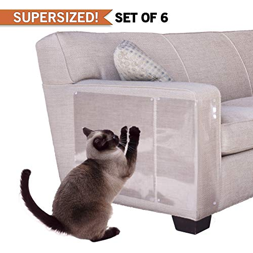(PanzerGlobal Cat Furniture Protector - Supersized Pet Protectors Included - Cut-to-Fit Sofa Scratch Protection - Dog Scratching Guards for Couch, Door, Armchair Corner - Animal Anti-Scratch Shield)