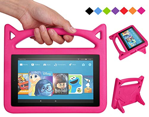 Fire 7 2017 Case,Fire 7 Tablet Case Kids -Bromee Light weight Shock Proof with Stand Kids cover Case for Amazon Kindle Fire 7 Tablet(2017 & 2015 Release)-Pink