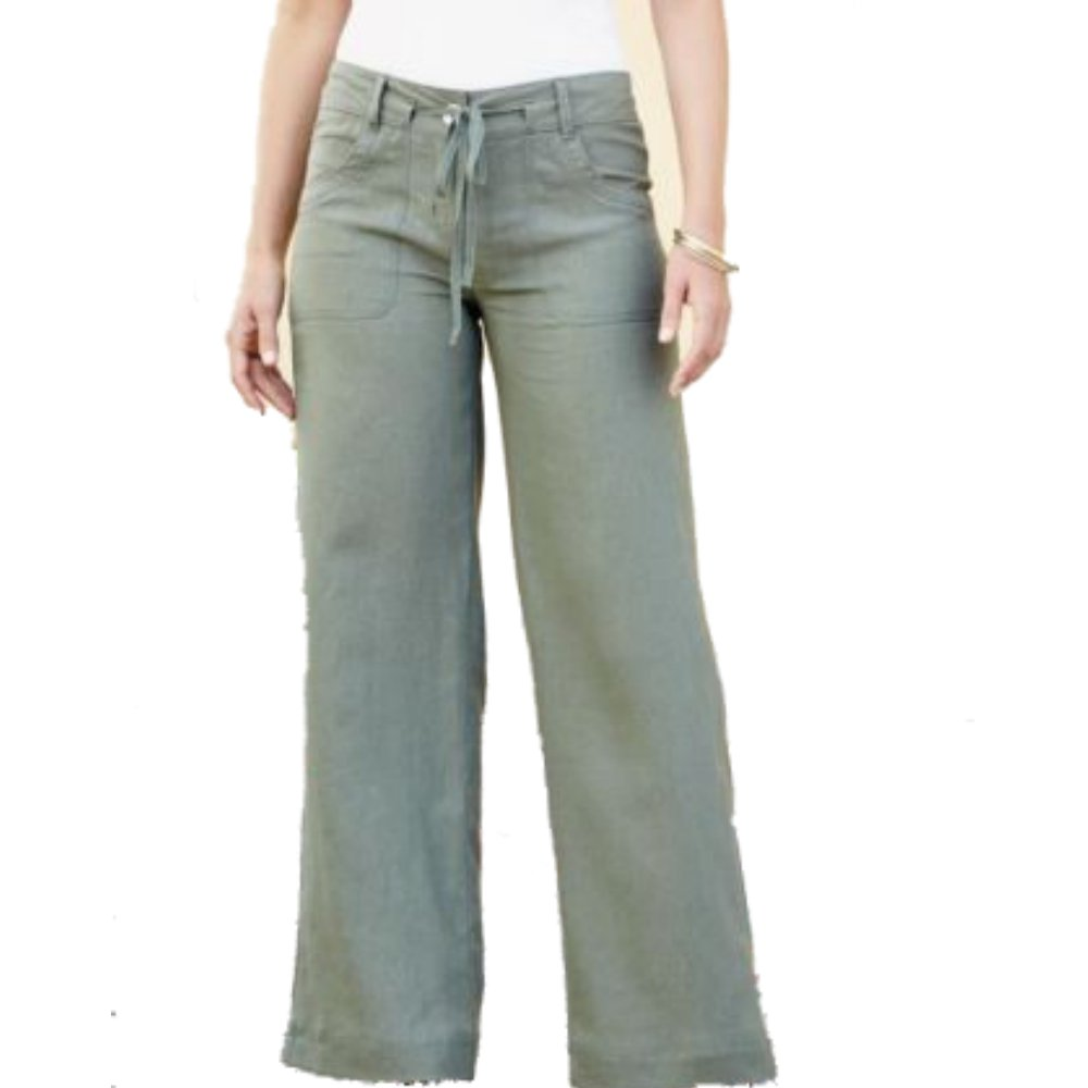 low priced pretty cheap new style South Relaxed Fit Khaki Linen Trousers Size 8 Petite - Green ...