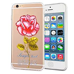 iPhone 6 Case,6 Case,iPhone 6 TPU Case,Case for iPhone 6,Creativecase Flower Pattern Clear TPU Soft Silicone Design 6 Case Cover for iPhone 6 4.7 inch-V6