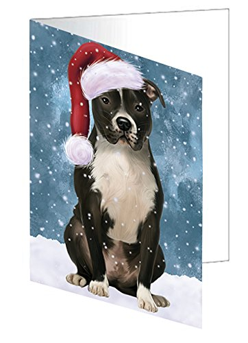 Let it Snow Christmas Holiday Pit Bull Dog Wearing Santa Hat Greeting Card D326 (20) (Pit Snow Card)
