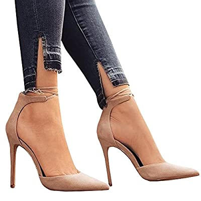 HotiQues Women's Lace Up Pointy Toe High Heels Ankle Strap Buckle Dress Pumps