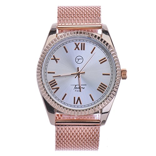 Heavy Rose Gold Plated Mash Band Bling Hip Hop Watches WM 7723 RG