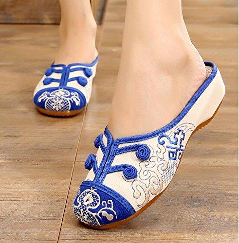 KHSKX-La Porcelana Blanca Y Azul Zapatos Mujer Zapatillas Bordadas Folk Estilo Retro Zapatos De Arrastre El Aumento En El Espesor De La Parte Inferior De Arrastre De Fondo Dichotomanthes blue