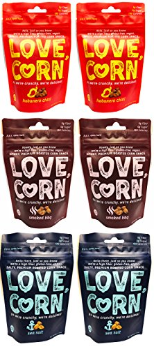 (Love Corn Crunchy Corn Snack Variety Pack of 6)