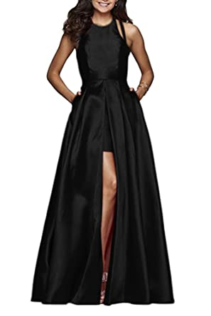 Leogirl Womens High Low Open Back Satin Prom Dresses With Pockets