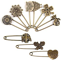 BPC Pack of 8 Bronze Vintage Hijab Pins Brooch Pins Safety Pins
