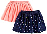 Simple Joys by Carter's Baby Girls' Toddler 2-Pack Knit Scooters (Skirt with Built-in Shorts), Pink. Navy Dot, 4T