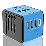 Travel Adapter, APzek International Power Adapter With High Speed 2.4A USB 3.0A Type C, European Adapter, Universal Power Adapter Wall Charger for Europe UK US AU & Asia (Blue)