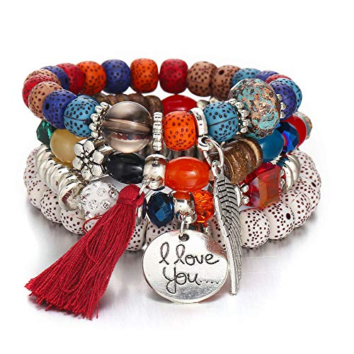 SMALLE ◕‿◕ Women Jewelry,Natural Crystal Opal Multi-Layer Colorful Beads Coin Tassel Bracelets Metal Bracelet from SMALLE ◕‿◕
