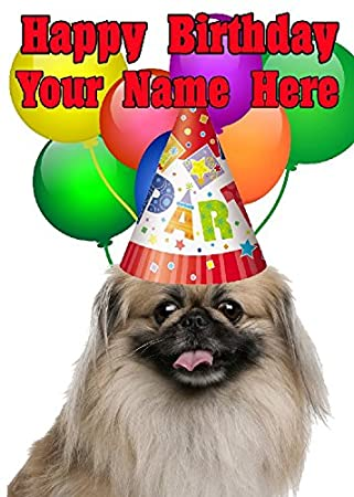 Pekingese Dog Party Hat Card Codeped Birthday A5 Personalised Greeting Amazoncouk Office Products
