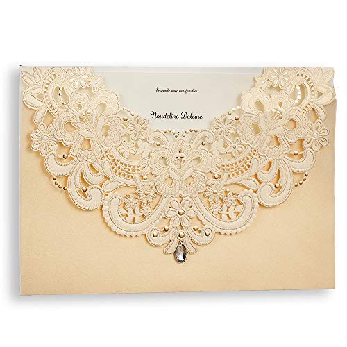 50 WISHMADE Wedding Invitations Kits with Envelopes, Gold Shimmer Pearl Laser Cut Flora & Lace Baby Shower invites sets with Rhinestone Matched With RSVP & Thank You Cards