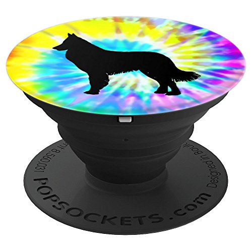 Belgian Tervuren Dog Silhouette with Puppy Tie Dye Prints - PopSockets Grip and Stand for Phones and Tablets ()