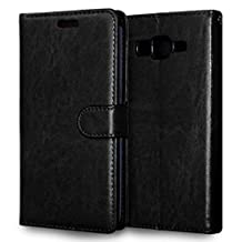 MOONCASE Case for Samsung Galaxy Grand Prime G530 Folio Flip Leather Wallet Card Slot and Foldable Stand Feature Pouch Cover Black