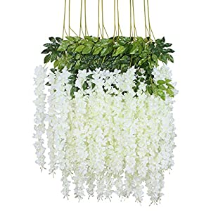 Duovlo 12 Piece 3.6' Artificial Silk, Wisteria Vine Ratta Hanging Flower Garland String for Home Party Wedding Decor, White 18