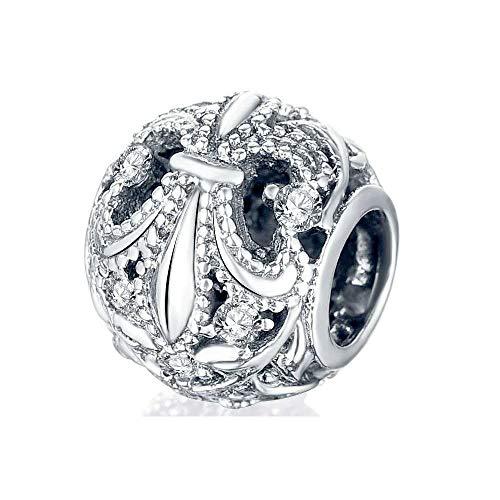 - Hurmaa Encantos Fleur De Lis Flower White Birthstone Charms Bead for Bracelet Father Mother's Day