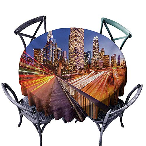 VIVIDX Water Table Cloth,Night,USA Downtown City Skyline Over The Highway Los Angeles California Travel Destination,Table Cover for Kitchen Dinning Tabletop Decoratio,60 INCH,Multicolor