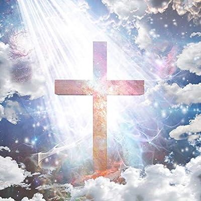 Yeele 4x4ft Heavenly Cross Photography Backdrop Sky Cloud Jesus Christ Holy Lights Religious Pray God Photo Background Religion Faith Christian