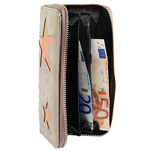 e5c9e187eebdba 85%OFF Damen Reißverschluss Geldbörse Portemonnaie Geldbeutel Portmonee  Börse mit Stern Sterne Star Grau LhFwBIBh