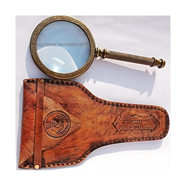 MAH 11 cm Big Steam Punk Traditional Round Antiques Reproduction Brass Magnifying Glass. C-3024 5