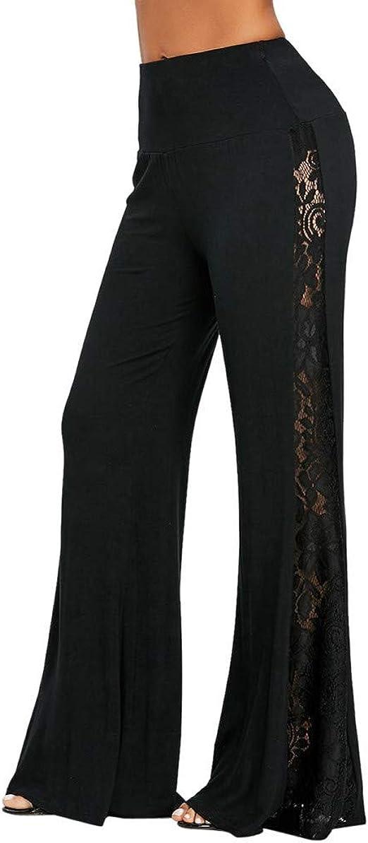 Dunacifa Womens High Waist Lace Wide Leg Pants Plus Size Solid Insert Slim Leggings Loose Trousers Bell Bottom Pants