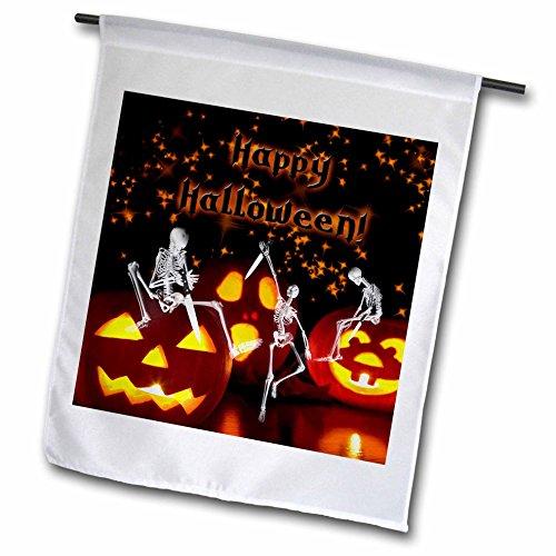 Doreen Erhardt Halloween Collection - Scary Skeletons Carving Halloween Pumpkins Trick or Treat - 12 x 18 inch Garden Flag (fl_240110_1) -