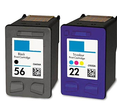 HouseOfToners Remanufactured Ink Cartridge Replacement for HP 56 & 22 (1 Black & 1 Color, 2-Pack)